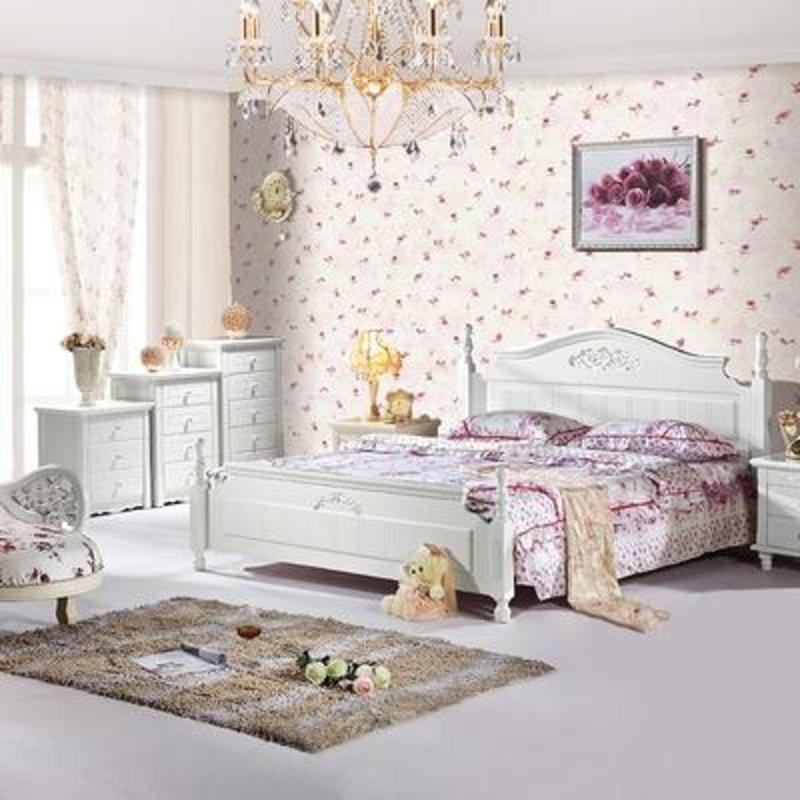 巴黎时光 家具 欧式田园公主床 韩式实木双人床 白色