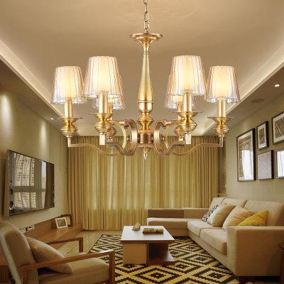 欧菲玛丽 全铜吊灯欧式餐厅客厅卧室复式楼别墅奢华led灯具(白色光源