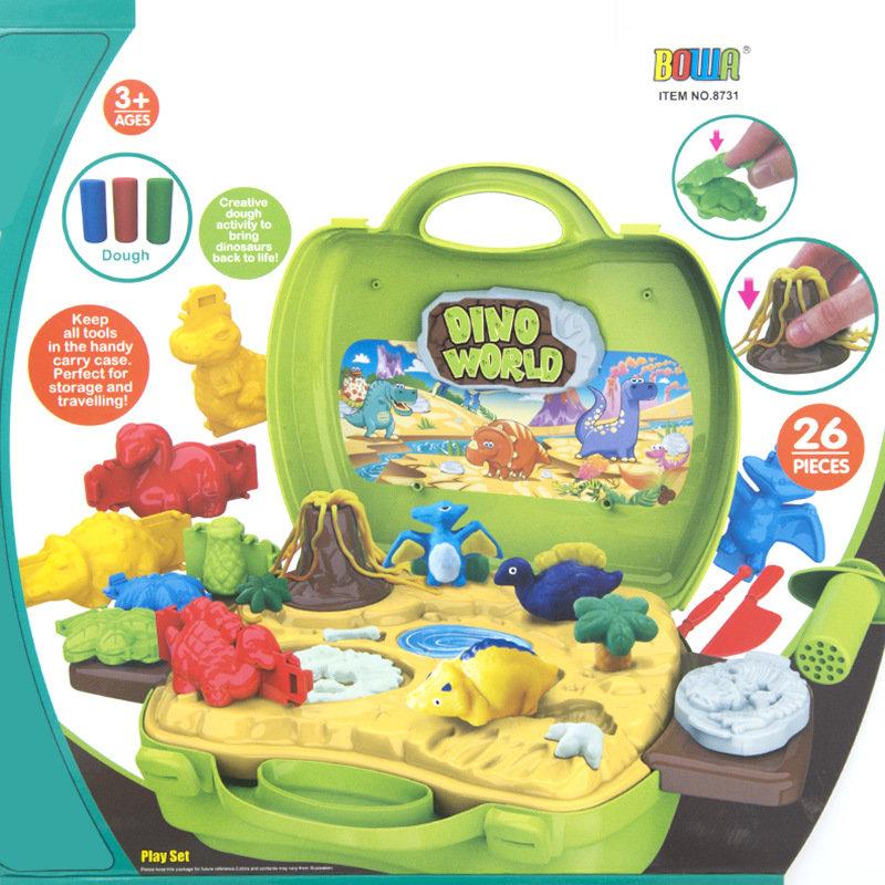手提箱手工橡皮泥不干3d彩泥儿童玩具超轻粘土过家家玩具(恐龙彩泥)