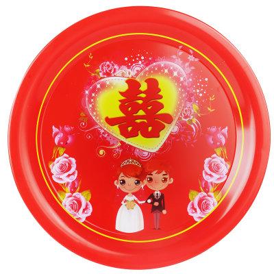 婚庆用品 结婚红色喜盘水果喜盘糖果盘糕点盘圆形红喜