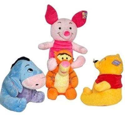 迪斯尼维尼熊跳跳虎飞天猪伊尔驴毛绒玩具一套四只装