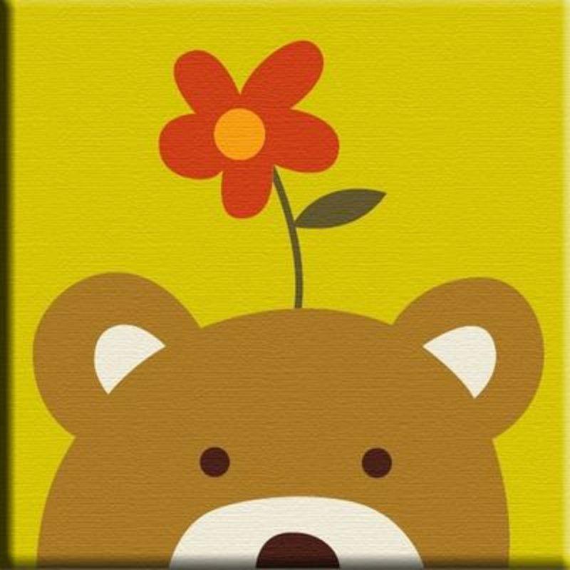 华庭丽娜手绘diy数字油画 动物连连看系列熊熊20x20cm 送孩子生日礼物