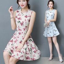 伊秋梦紫2017夏季新款棉麻无袖印花连衣裙中长款t恤裙9913(红色 XXL)