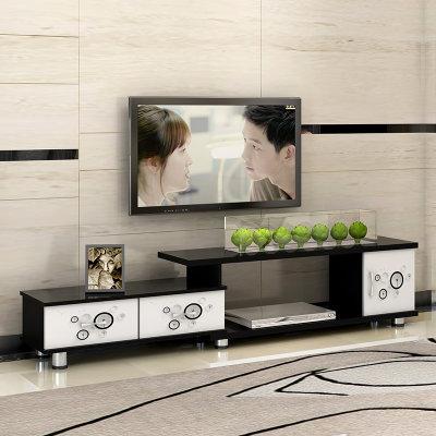 蔓斯菲尔简约现代电视柜欧式伸缩卧室小户型客厅电视机柜(白框蒲公英)